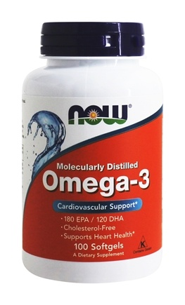 Omega3 Molecularly Distilled Fish Oil  100 Softgels by NOW