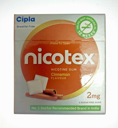 Cipla Nicotex 2mg Cinnamon Flavour Nicotine Gum Pack of 10 boxes