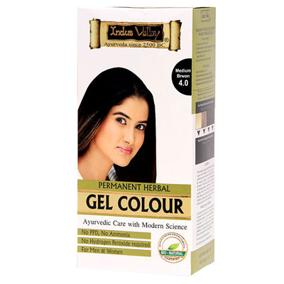 Indus Valley Permanent Herbal Hair Colour- Medium Brown Kit