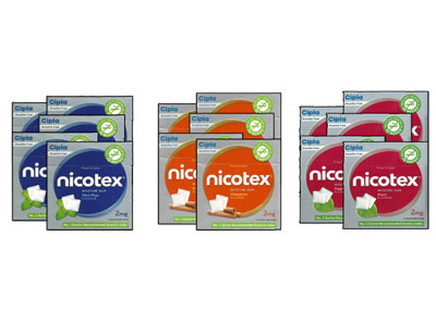 Nicotex Nicotine Pan Mint Plus  and Cinnamon Gums 2 mg  15 boxes