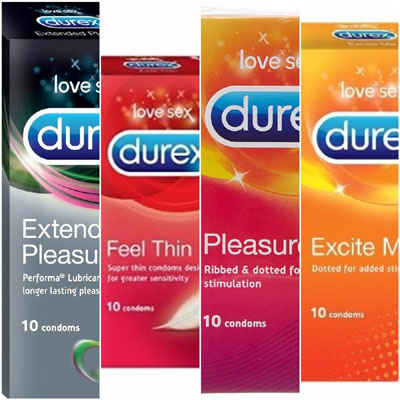 Durex Condoms 10s Assorted Combo pack of 4