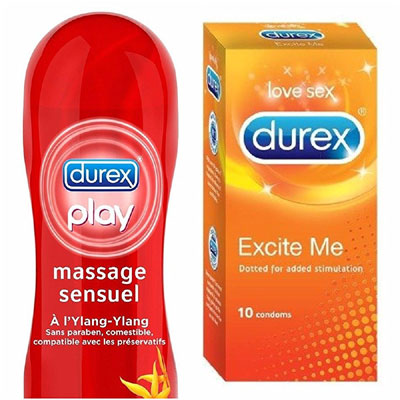 Durex Play massage 2in1 with 10s condoms Excite me pack of 2