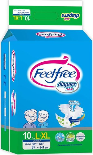 Feel Free Unisex Adult Diaper Large L-XL 10's  Pack To Fit Sizes (38'' -58'') 97-147cm