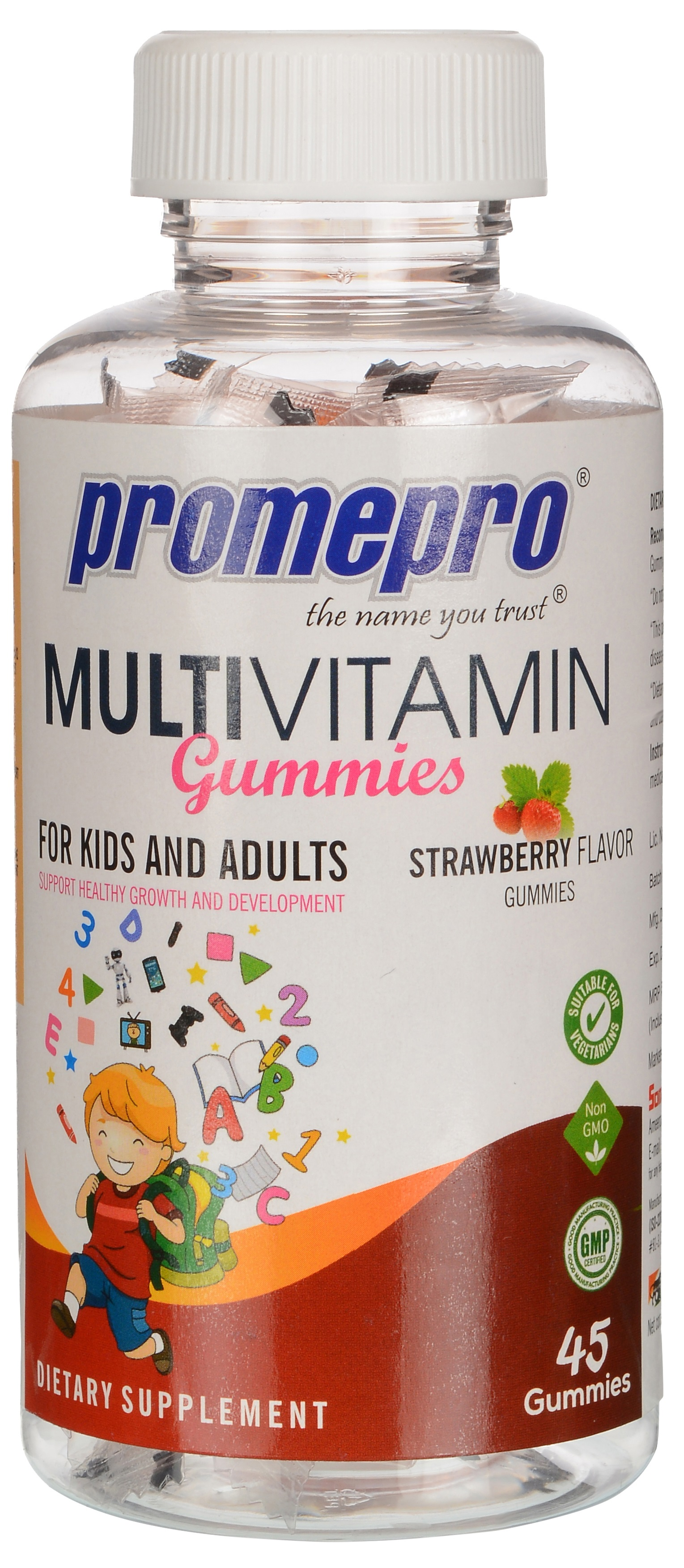 Promepro MULTIVITAMIN STRAWBERRY FLAVOR GUMMIES FOR KIDS AND ADULTS,45 GUMMIES