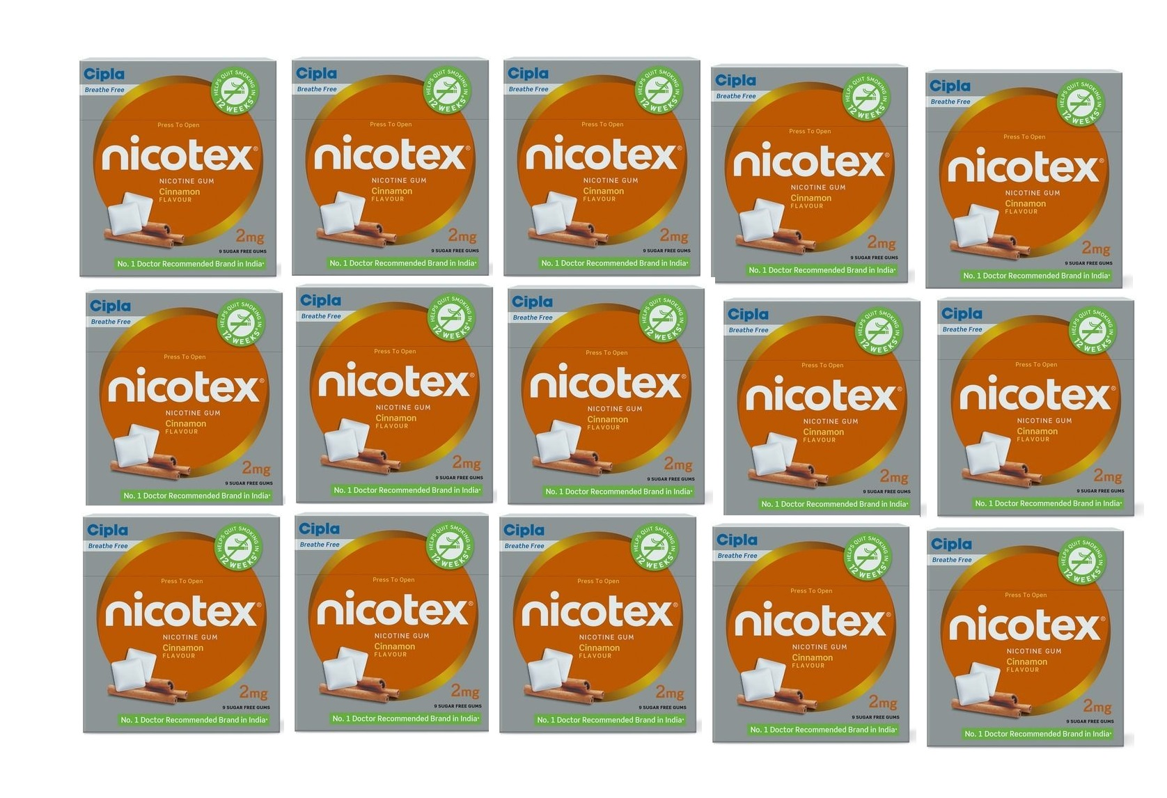 Cipla Nicotex 2mg Cinnamon Flavour Nicotine Gum Pack of 15 boxes