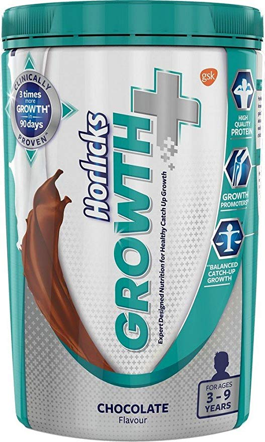 Horlicks Growth Plus – Health and Nutrition Drink 400 g Pet Jar Chocolate Flavor