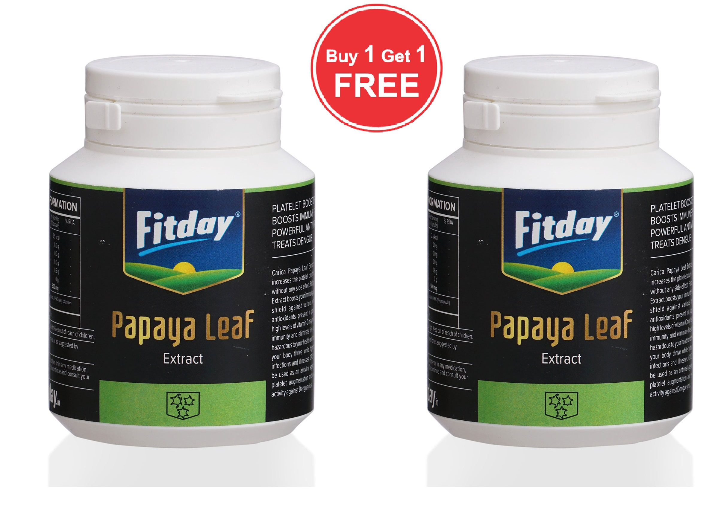 Fitday Papaya Leaf Extract 500mg  30 Capsules Buy 1 Get 1 Free
