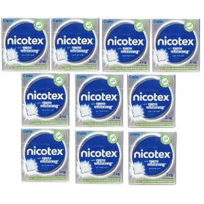 Nicotex nicotine gum Mint plus flavor with teeth whitening 9s pa