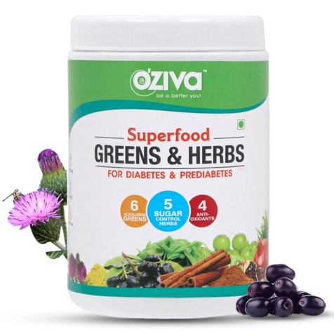 OZiva Superfood Greens and Herbs for Diabetes ans Prediabetes 250g