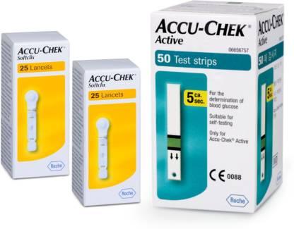 ACCU CHEK Active 50  Lancet 50 Glucometer Strips
