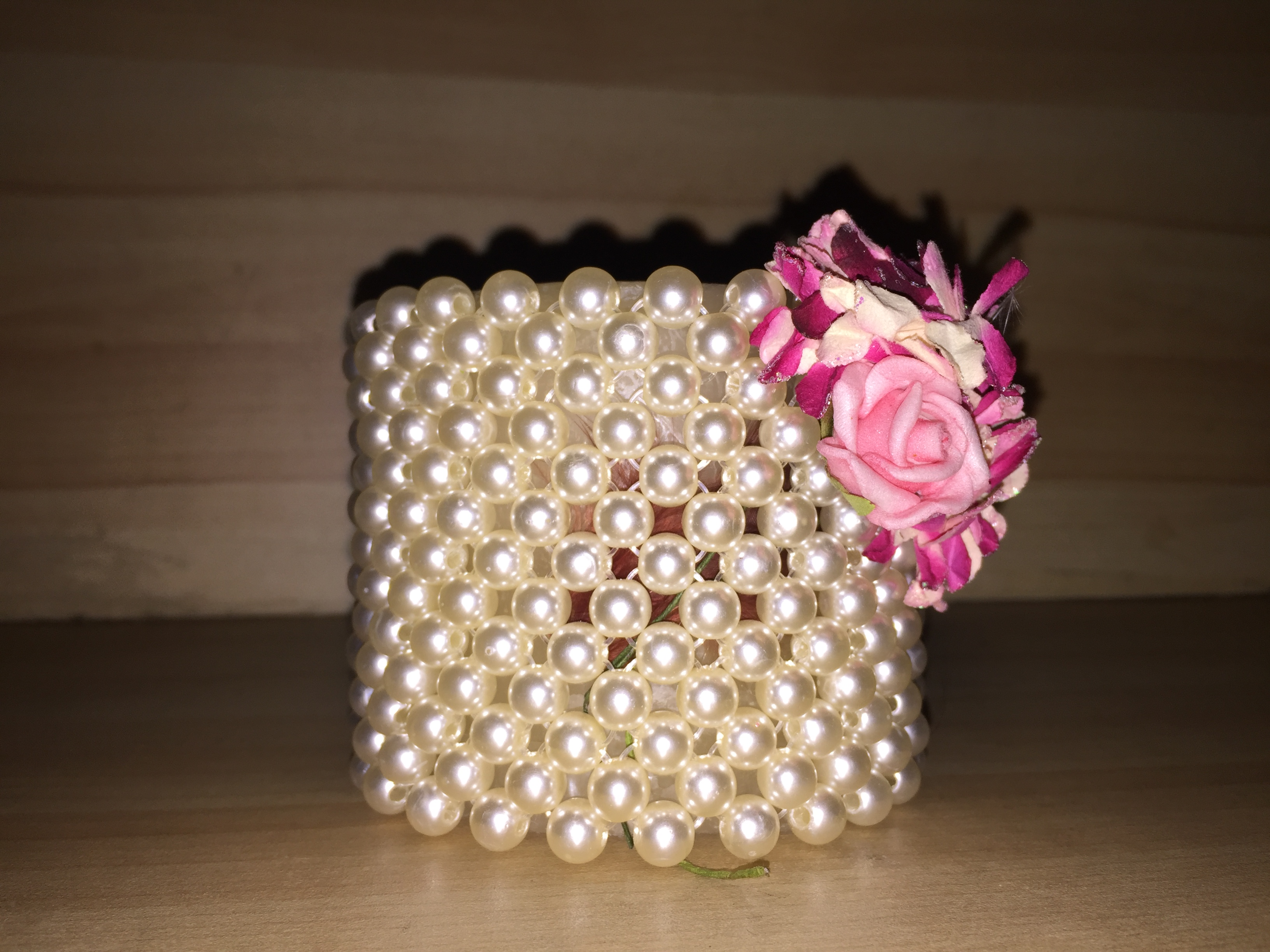 Flame  Candle with surrounded pearls