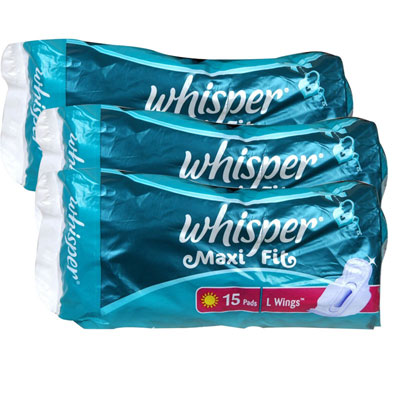 Whisper Maxi Fit 15 pads L Wings Pack Of 2