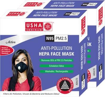 Usha Shriram Activo N95 PM2.5 HEPA Anti Pollution Face Mask - USHA SHRIRAM - Pack of 2