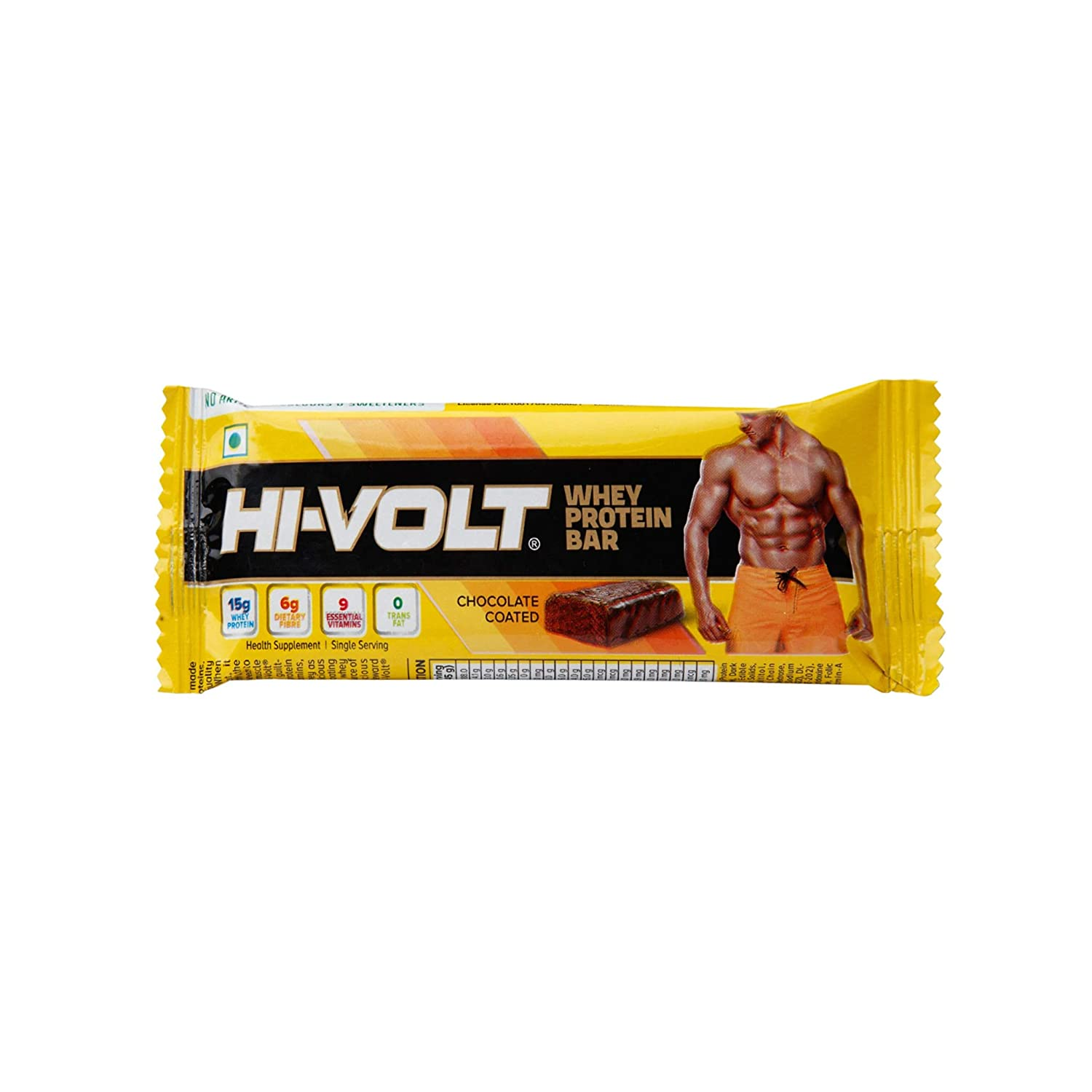 HI VOLT Whey Protein Bar Chocolate Coated  45 gm Buy 4 Get 4 Free