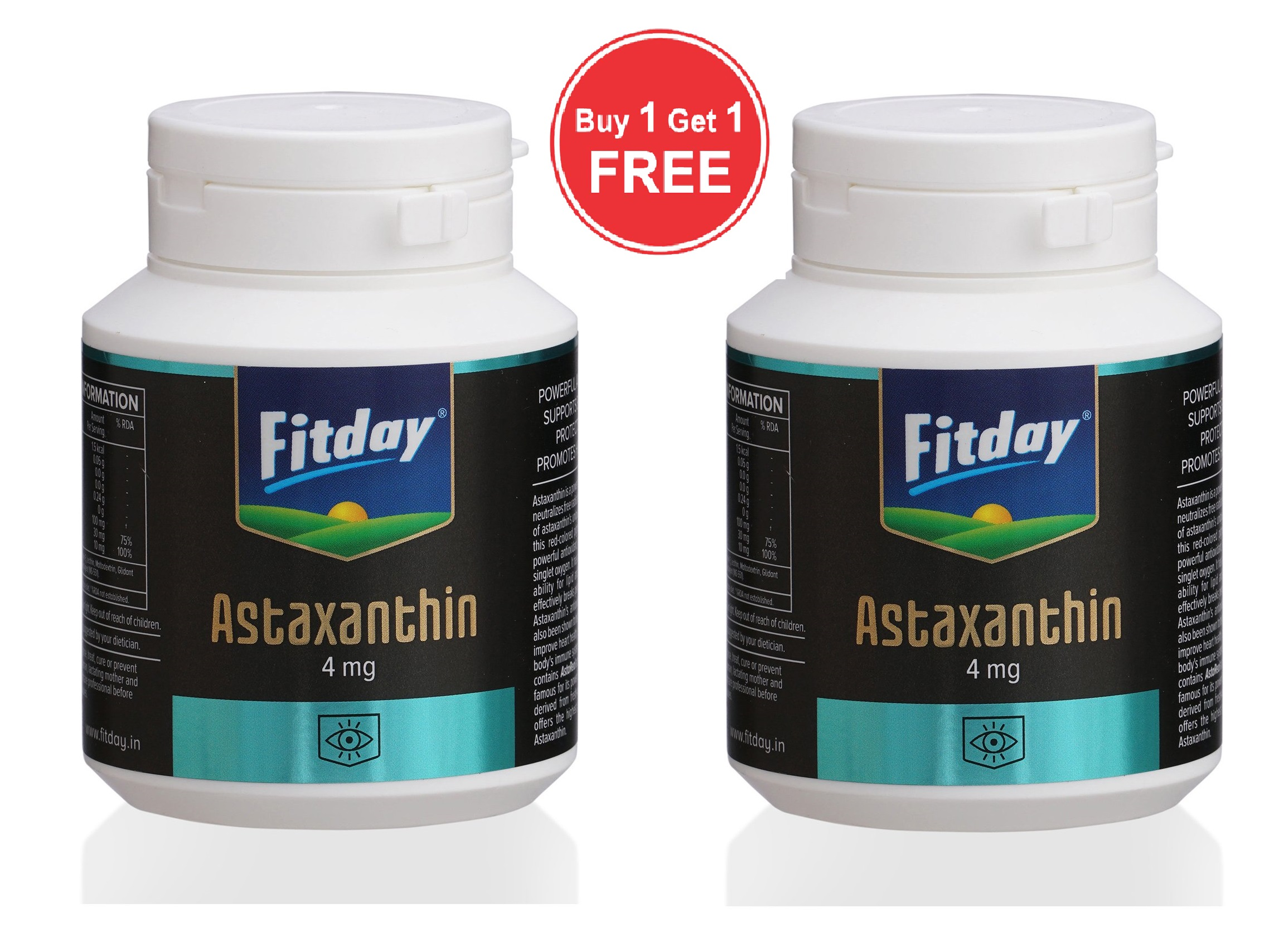 FITDAY Astaxanthin - 4 mg (60 Capsules) Buy 1 Get 1 Free