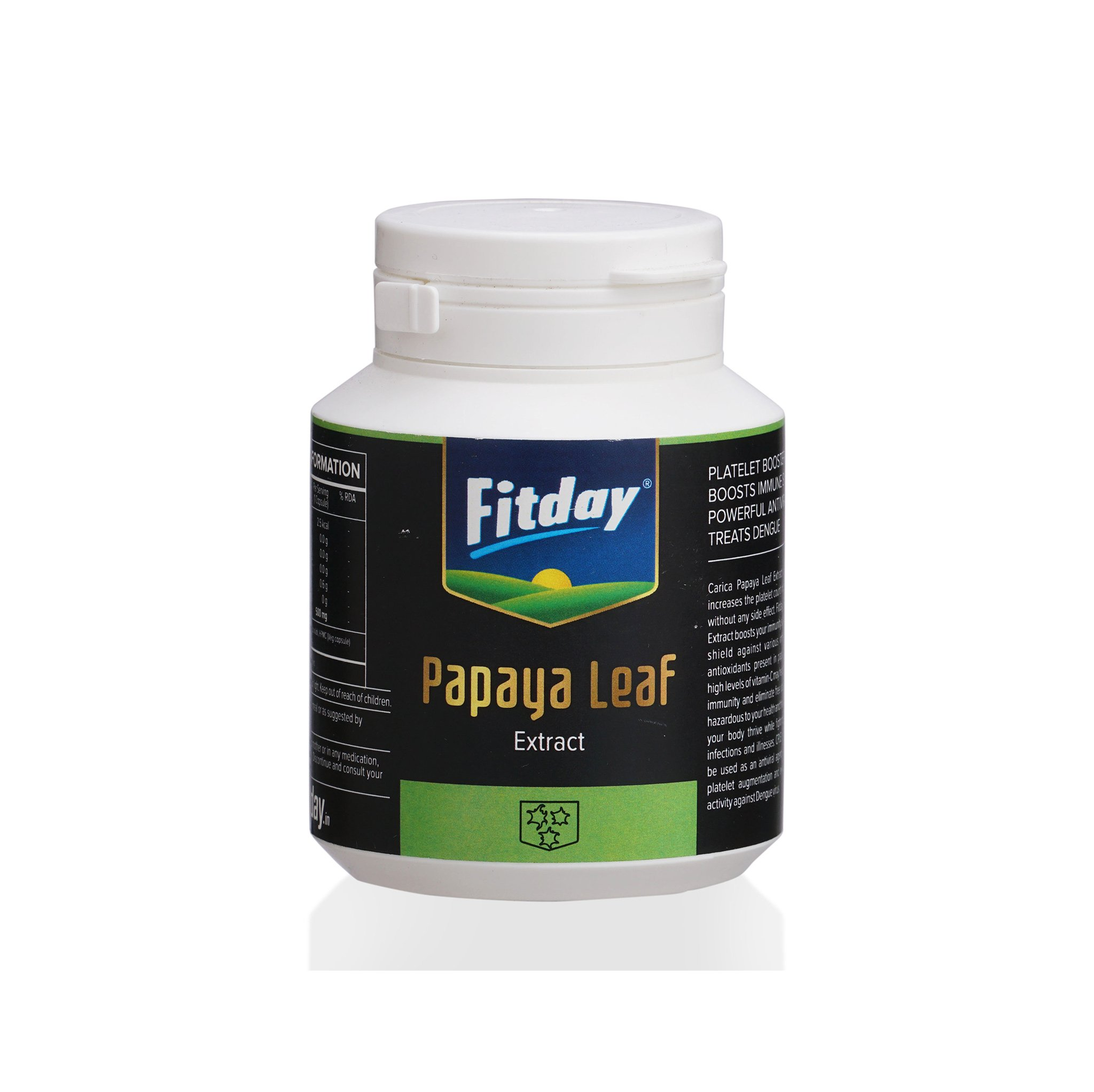 Fitday Papaya Leaf Extract 500mg  30 Capsules