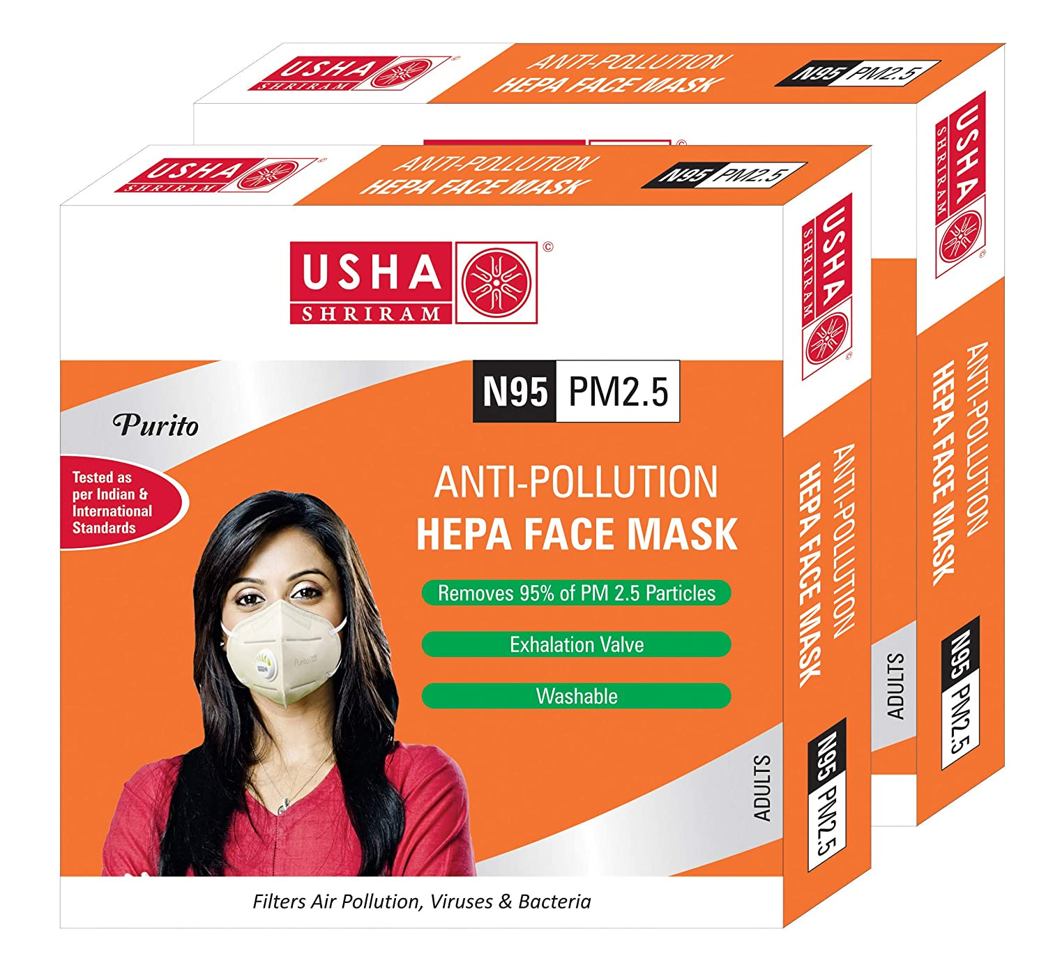 Usha Shriram Purito N95 PM2.5 HEPA Anti Pollution Face Mask - USHA SHRIRAM  - Pack of 2