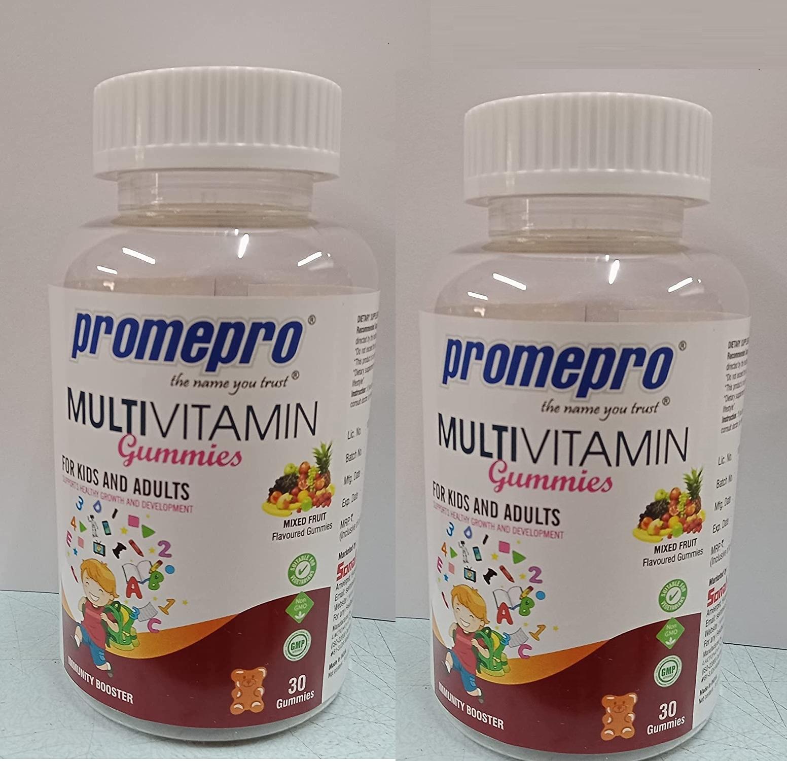 promepro multivitamin gummies - mixed fruit flavour, 30Gummies Pack Of 2