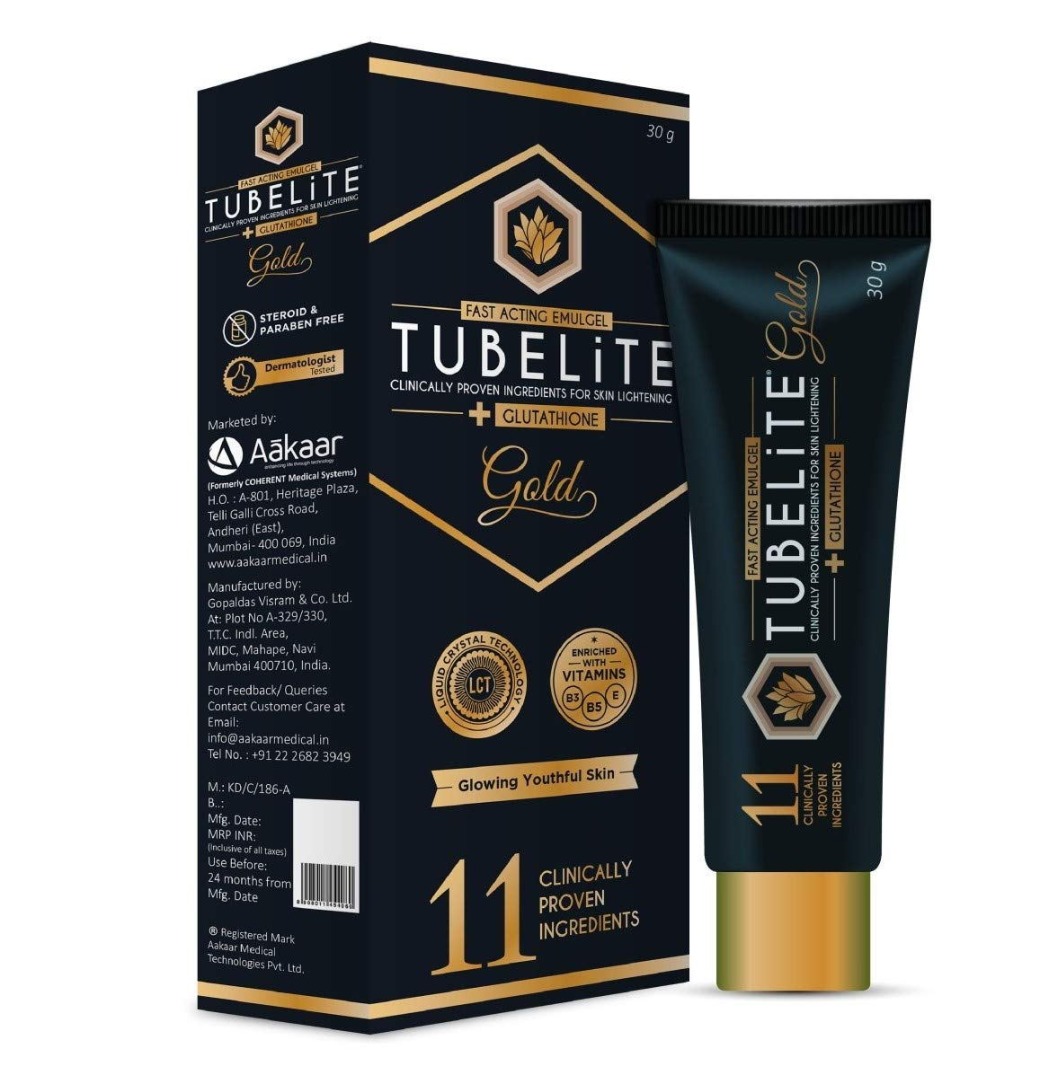 TUBELITE CLINICALLY PROVEN INGREDIENTS FOR SKIN LIGHTENING 30G