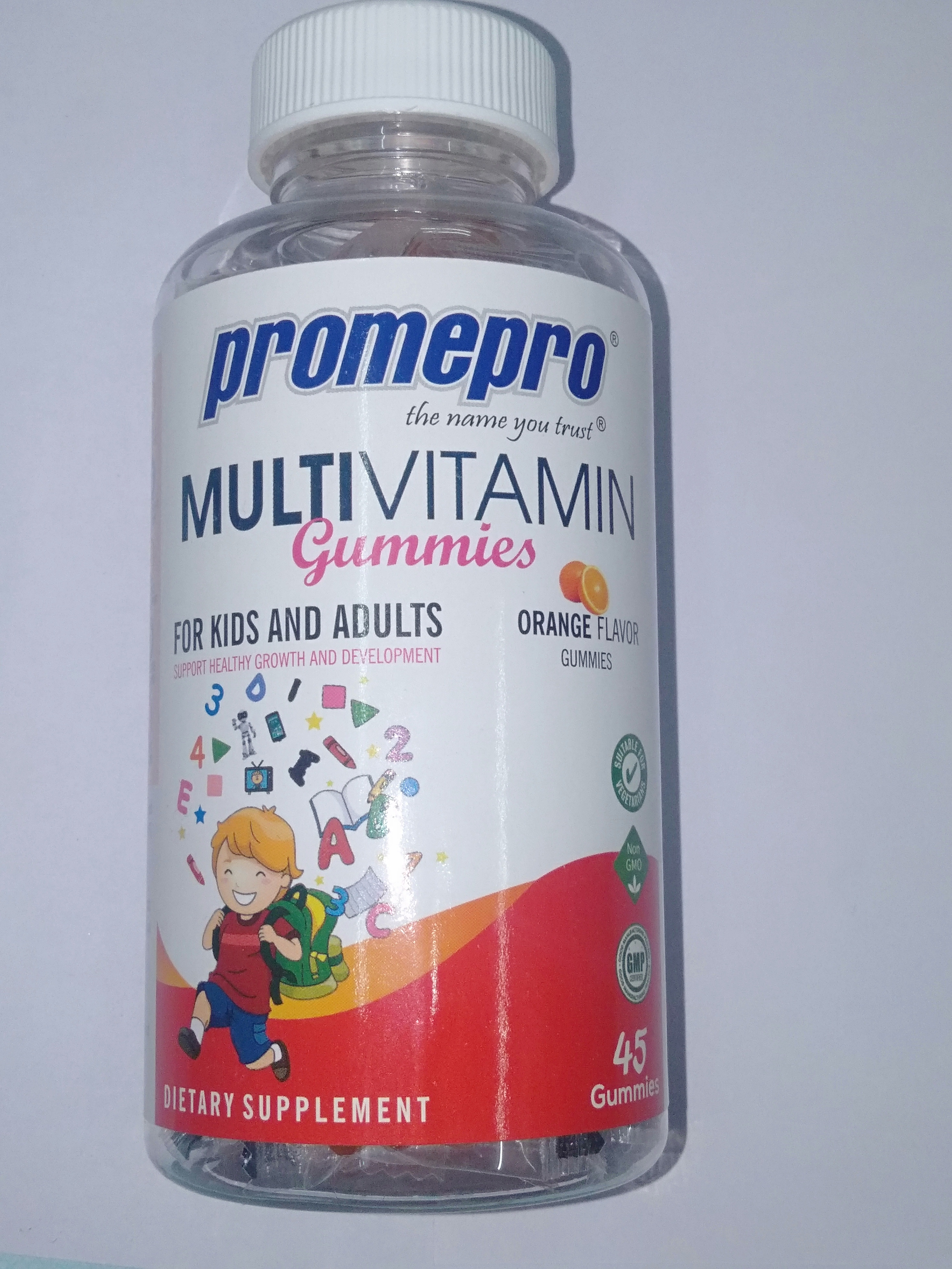 Promepro MULTIVITAMIN ORANGE FLAVOR GUMMIES FOR KIDS AND ADULTS,45 GUMMIES