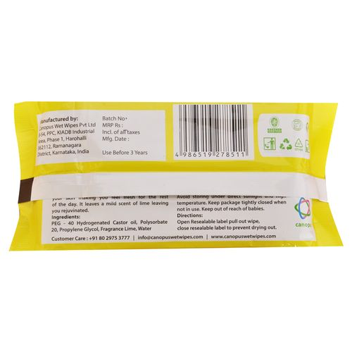 canopus facial wipes lime fragrance