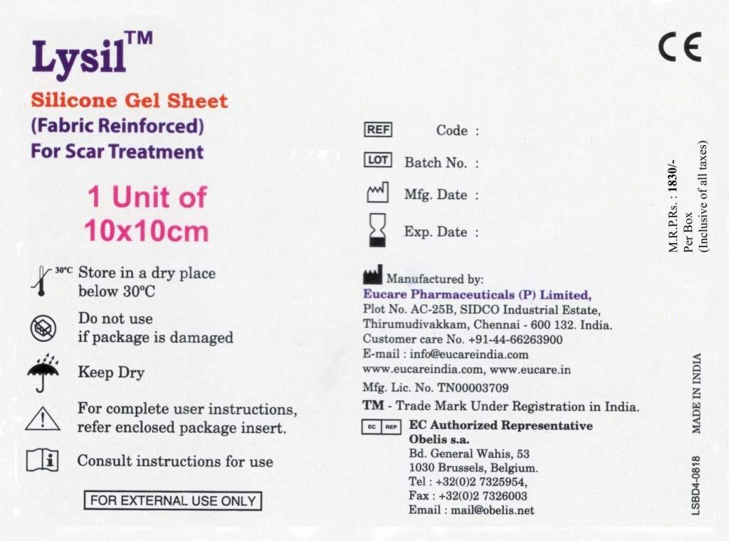 Lysil Silicone Gel Sheet 1 Unit of 10X10cm