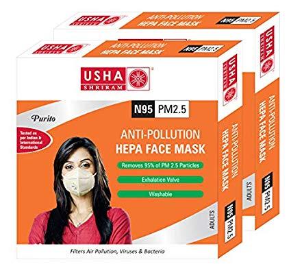 USHA SHRIRAM Purito N95 PM2.5 HEPA Anti Pollution Face Mask - Pack of 2