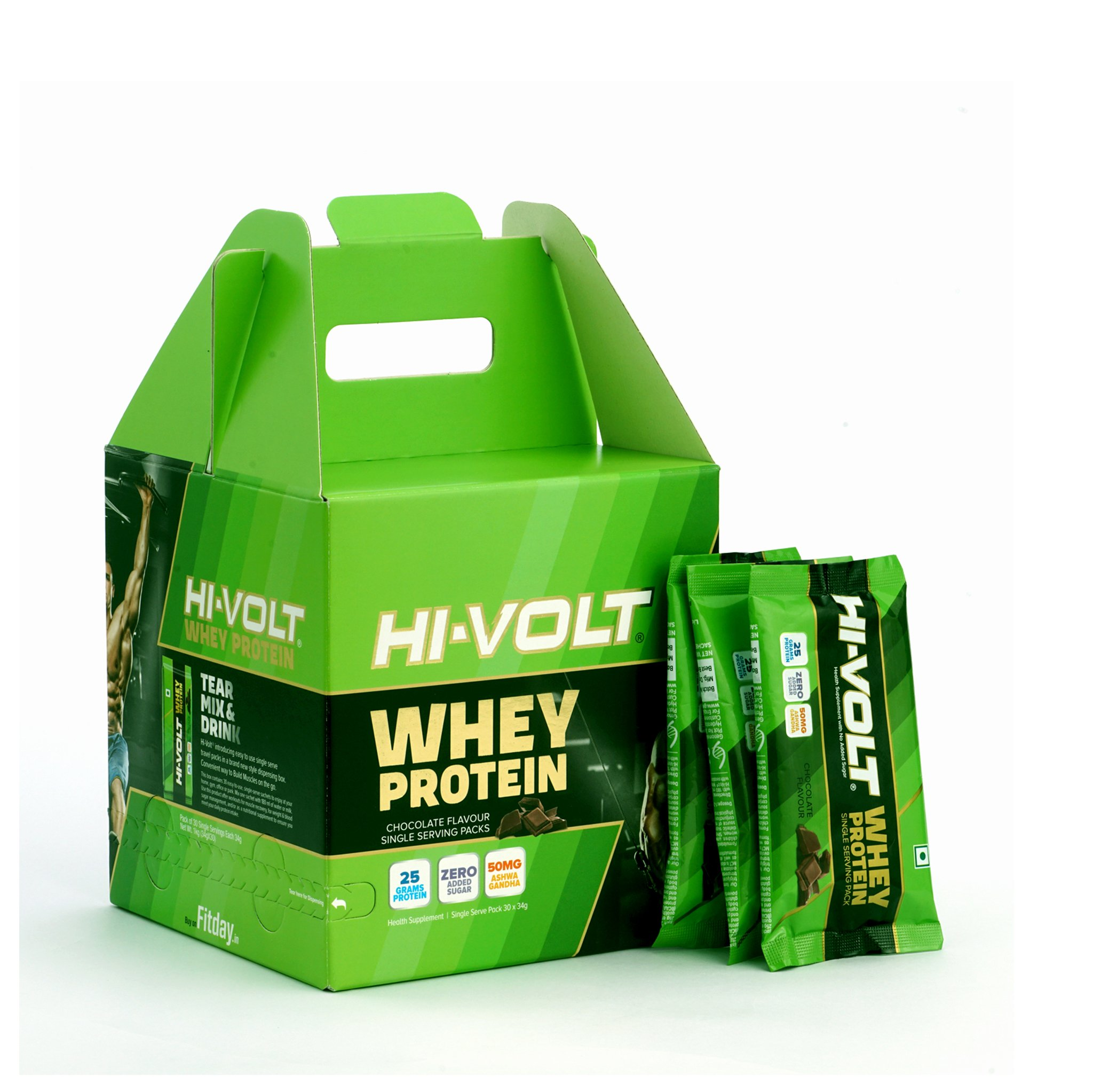 Hi  VOLT Whey Protein   Chocolate  34GM 30's Buy 1 Get 1 Free