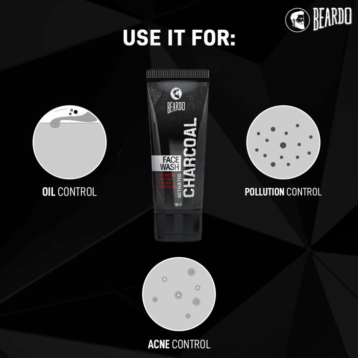 BEARDO ACTIVATED CHARCOAL FACE WASH 100ML
