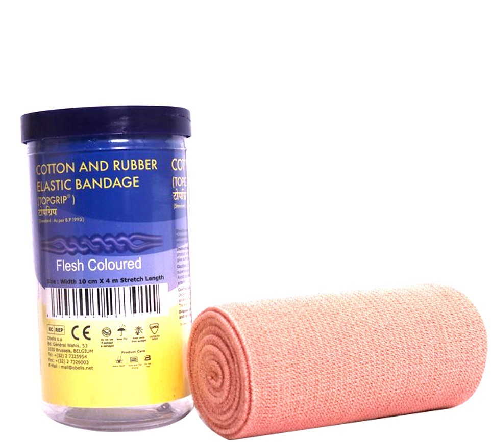 Topgrip Cotton and Rubber Elastic BandaGE B.P  10cmX4cm
