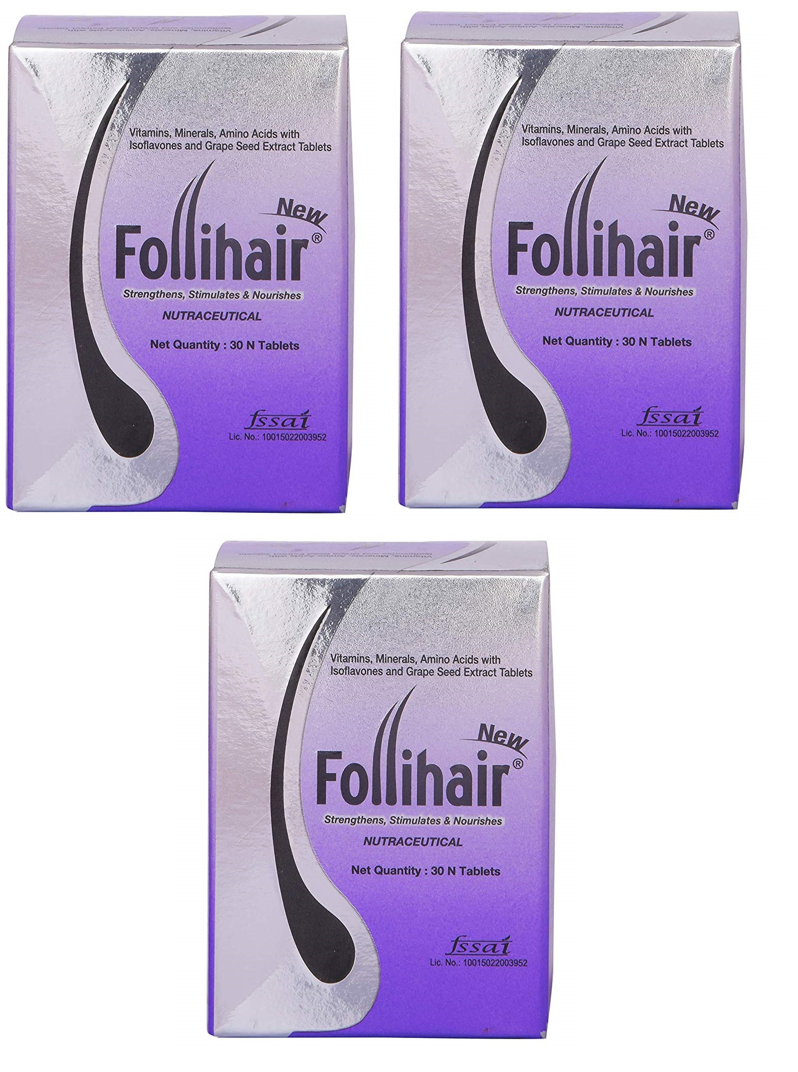 Follihair New Tablets 30caps pack of 3
