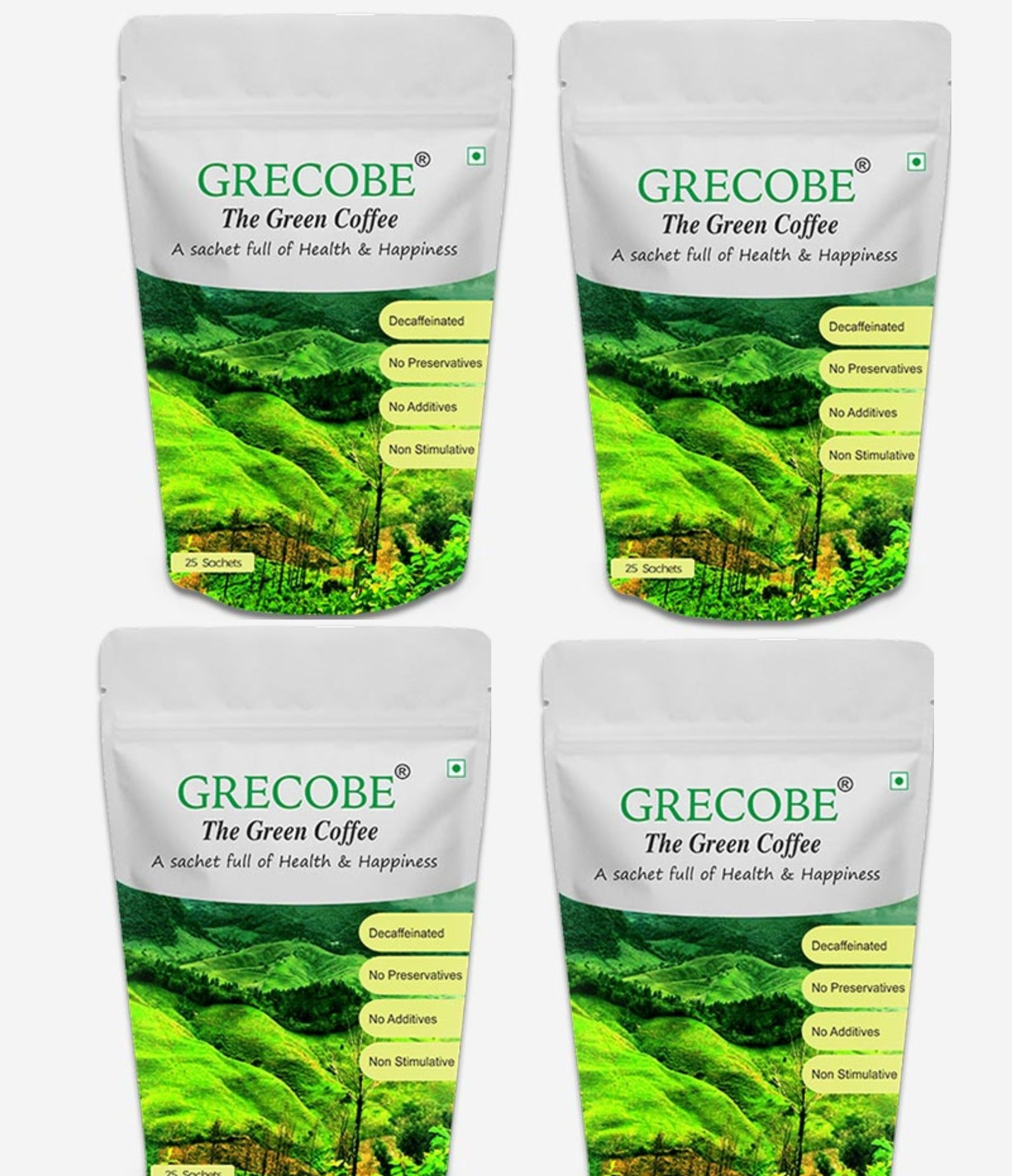 Grecobe Green Coffee Beans Extract - ( pack of 4 ) 25 Sachets
