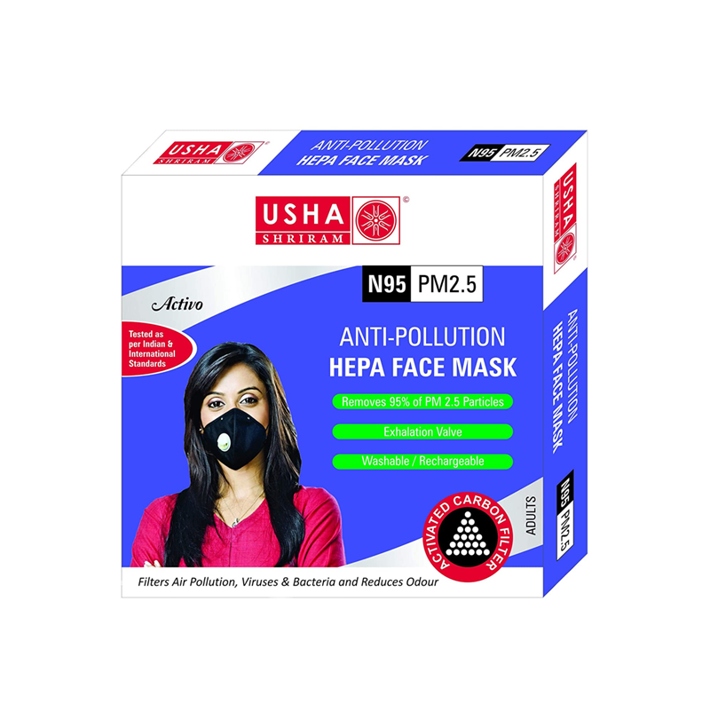 Activo N95 PM2.5 HEPA Anti Pollution Face Mask - USHA SHRIRAM - Pack of 2