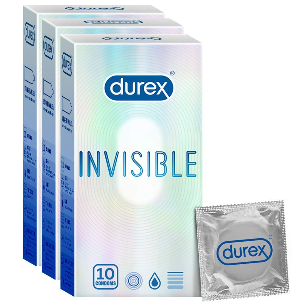 Durex Invisible Super Ultra Thin Condoms for Men 10s  Pack of 3