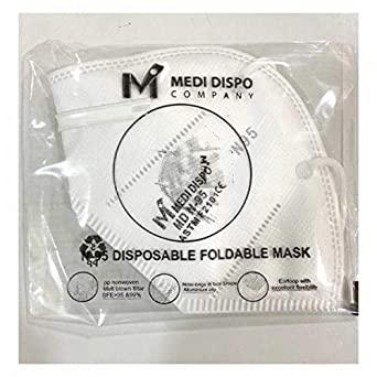 Medidispo N-95 Disposable Foldable Mask - Pack of 2