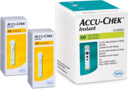 ACCU CHEK Instant 50  Lancet 50 Glucometer Strips Combo