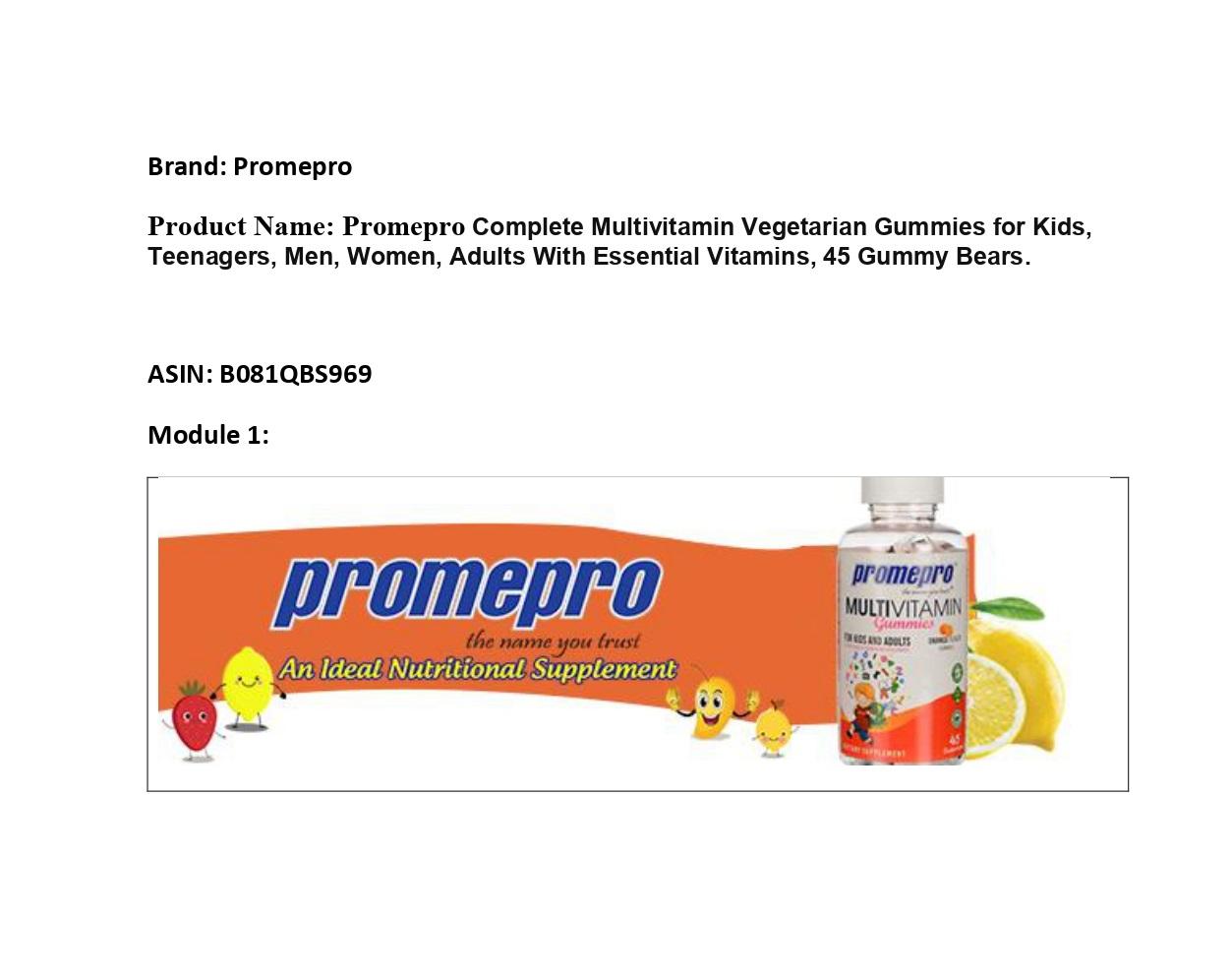 Promepro Multivitamin Gummies - Orange Flavor, 45 Gummies
