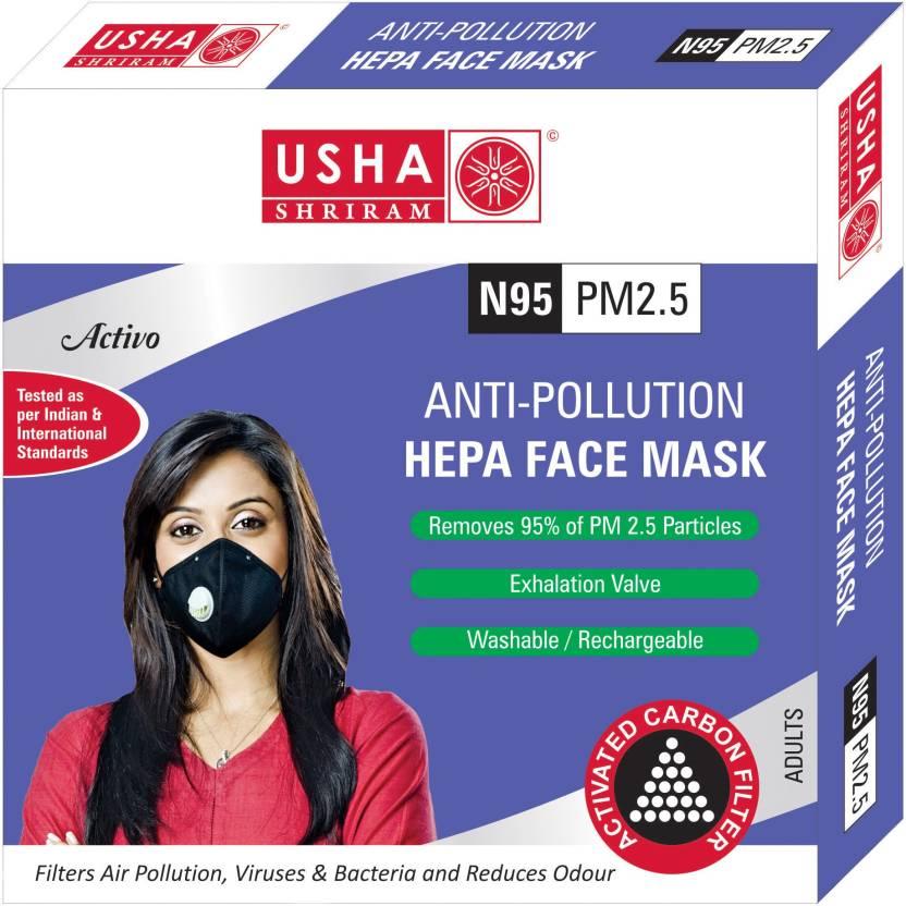 Purito N95 PM2.5 HEPA Anti Pollution Face Mask - USHA SHRIRAM  - Pack of 2